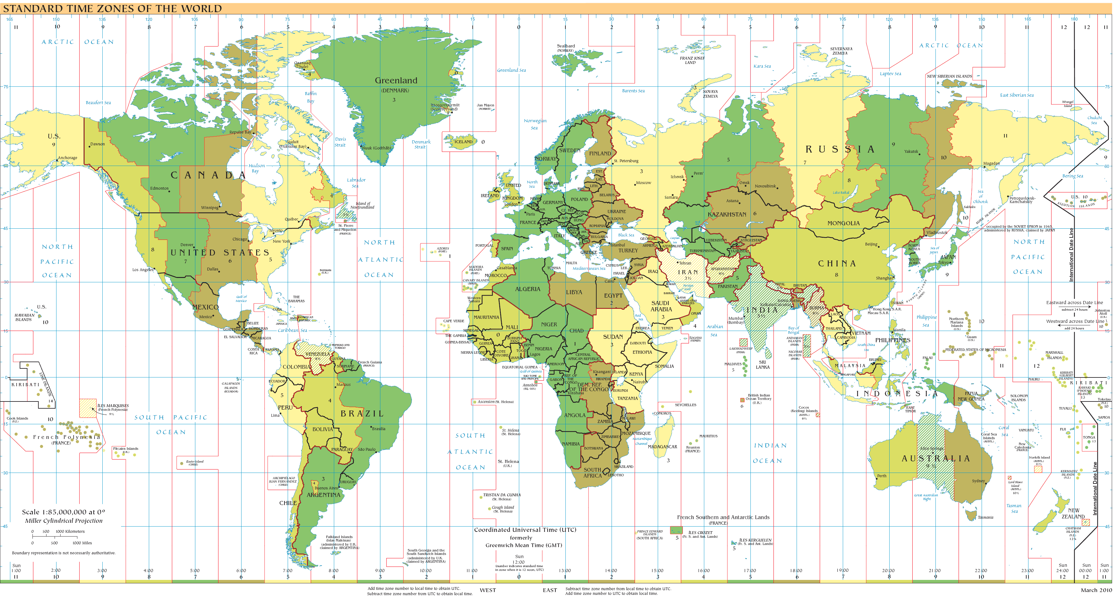Time Zone Calculator - Map showing us time zones